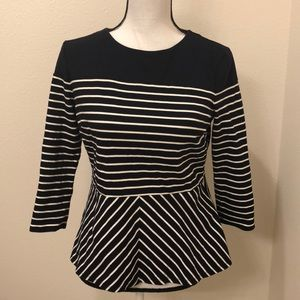 •Talbots• Navy and white striped peplum top